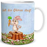 TRIOSK Tasse Hase mit Spruch Halt die Ohren steif, Lustiges Geschenk für Freunde zu Ostern, Weiß Bunt, 300 ml