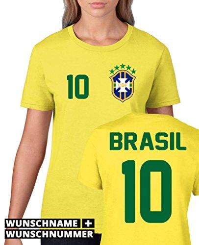 Comedy Shirts - BRASILIEN WM 2014 - WUNSCH Damen T-Shirt - Gelb/Blau-Grün Gr. M
