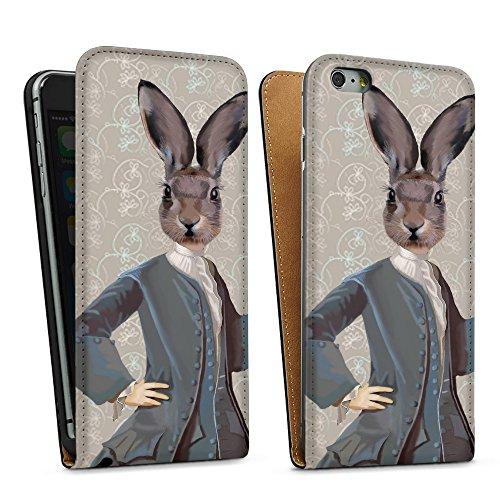 """artboxONE Handyhülle Apple iPhone 6, weiß Silikon-Case Handyhülle """"Lyrischer Hase Case"""" - Tiere - Smartphone Silikon Case mit Kunstdruck hochwertiges Handycover von FabFunky Downflip Case schwarz"""