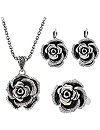 Shining Diva Fashion Luxury AAA Crystal Rose Party Wear Stylish Pendant Necklace Set For Women Jewellery Set With...