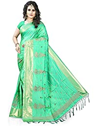 Gaurangi Creation Women's Art Silk Embroidered Party Wear Saree (KF2003_Light Green_Free Size)