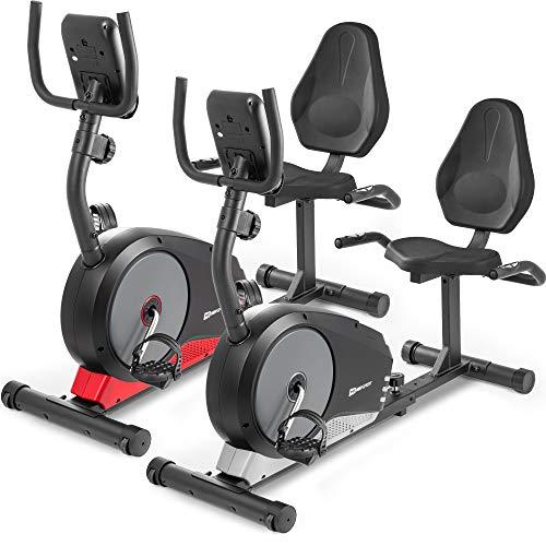 Hop-Sport Liegeheimtrainer Root Sitzheimtrainer Heimtrainer Sitzergometer 9,5 kg Schwungmasse 8 Widerstandsstufen Benutzergewicht bis 120 kg (Silber)