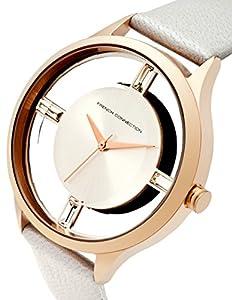 French Connection FC1233W - Reloj para mujeres, correa de cuero color blanco de French Connection