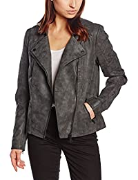 Only Women's 15102997 Short Collar with Press Button Leather Look Jacket