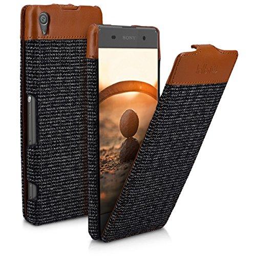 kalibri-Flip-Case-Hlle-Emma-fr-Sony-Xperia-XA-Aufklappbare-Stoff-und-Echtleder-Schutzhlle-Tasche-im-Flip-Cover-Style-in-Braun-Anthrazit