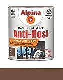 Alpina 750 ml Metallschutz-Lack, 3in1 Direkt auf Rost, RAL 8011 Braun Matt