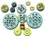 LEGO TECHNIC - 12-teiliges ZAHNRÄDER - Set (davon 2 Stück im alten hellgrau) + goldener Helm