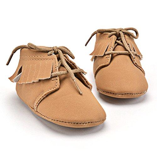 La Cabina Chaussures Bébé Fille garçon -Chaussure Bébé Fille Garçon Premier Pas -Chaussures Souples Confortable - Chaussures Antiglisse+ Décoration Frange (3-12 mois ) (12-18mois, brun) brun