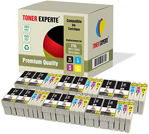 Kit 30 XL TONER EXPERTE 27 27XL Cartucce d'inchiostro compatibili per Epson WorkForce WF-3620DWF, WF-3640DTWF, WF-7110DTW, WF-7210DTW, WF-7610DWF, WF-7620DTWF, WF-7710DWF, WF-7715DWF, WF-7720DTWF