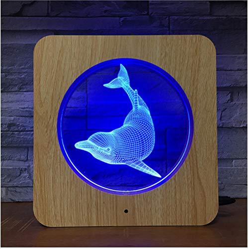 Zxwd Led Nachtlicht 3D Touch Nachtlicht Schlafzimmer Gas Atmosphäre Licht Delphin Kleine Tischlampe Holzmaserung Rahmen Licht -