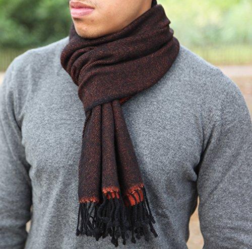 Mens 100% sciarpa di cachemire, filato 26/2 Composizione, Sciarpa di cachemire reversibile Red & Black con la nappa, sciarpa di cachemire invernale di lusso per gli uomini