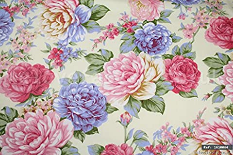 Shabby Chic Colourful Cabbage Roses 100% cotton fabric per meter 1.6m width