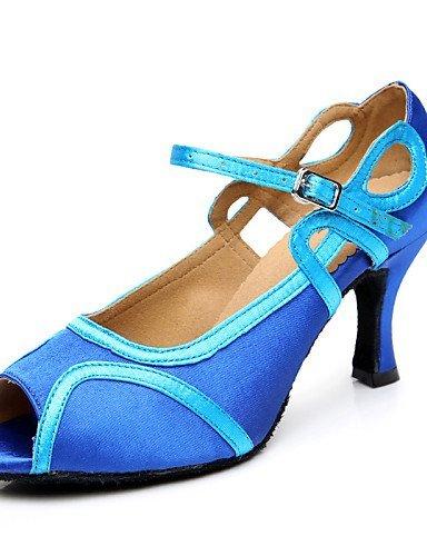 ShangYi Chaussures de danse(Bleu) -Personnalisables-Talon Aiguille-Satin-Latine Royal Blue