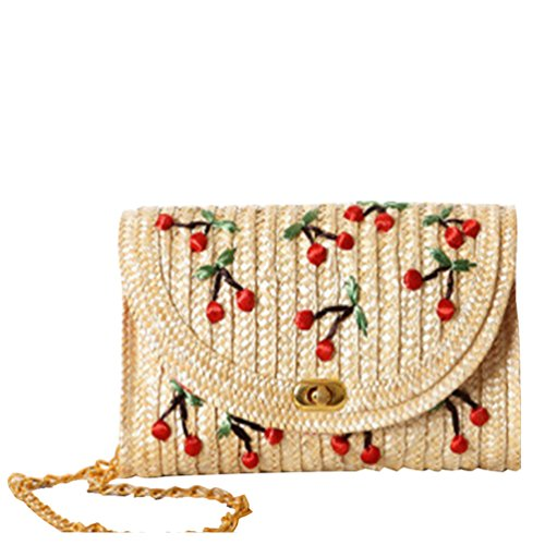 YOUJIA Damen Stroh Gewebte Crossbody Taschen Casual Schultertaschen Süße Kirsche Umhängetasche (Kirsche) -