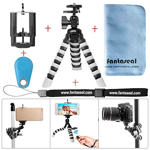 Fantaseal® 5-en-1 Mini 8'' Trépied Flexible en Bluetooth Ultraléger Robuste Multifonctionnel, Trépied de Table +Télécommande en Bluetooth +100mm Clip de Téléphone +Dragonne à main +Torchon à Nettoyer pour Nikon Canon Pentax Sony Panasonics Olympus Camera / Camcorder + Trail Camera+ iPhone 7+/ 7/ 6S+/ 6S/ 6+/ 6/ 5/ 5C/ 4S/ 4 +Samsung Nexus LG HTC Huawei ZTE Sony etc - BLEU