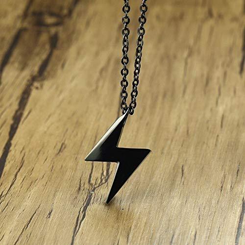 Herren Schwarz Edelstahl Mini Lightning Bolt Biographie Anhänger Halskette Halsband 20