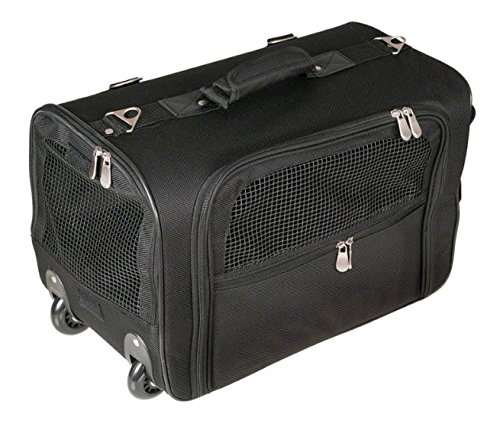 Flexible Trolley Pet Carrier with Wheels - Black - with Feeding Bowl and Bag - Carry with Shoulder Strap or As Backpack - A Great Way to Transport your Pet in Comfort