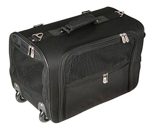 Flessibile pet carrier trolley con ruote–nero–con ciotola e bag–borsa per il trasporto con tracolla o come zaino–ottimo per trasportare il vostro animale domestico in comfort