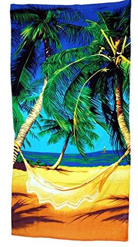 Strandtuch 70x140cm, Handtuch Motiv Palmen am Strand, Badetuch 100% Baumwolle