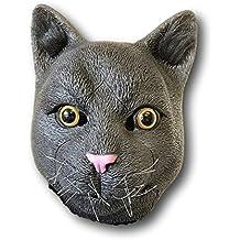 Ruso Azul Gato Gris Látex Máscara Cabeza Completa Película Calidad Disfraz