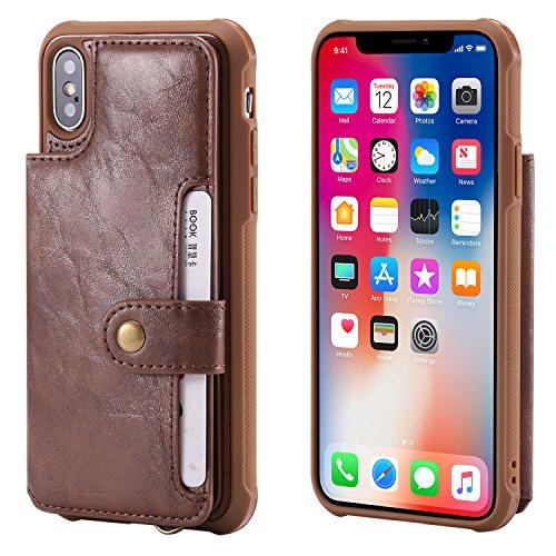 Schutzhülle für iPhone XS X 5,8 Zoll (5,8 Zoll), mit Kartenfächern, PU-Leder, Handschlaufe, magnetischer Schnappverschluss, Schutzhülle für Handys, Herren, Frauen, Coffee (Glitter Kate Geldbörse Spade)