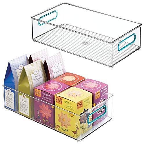 mDesign Juego de 2 cajas organizadoras con asas - Organizador de frigorífico...