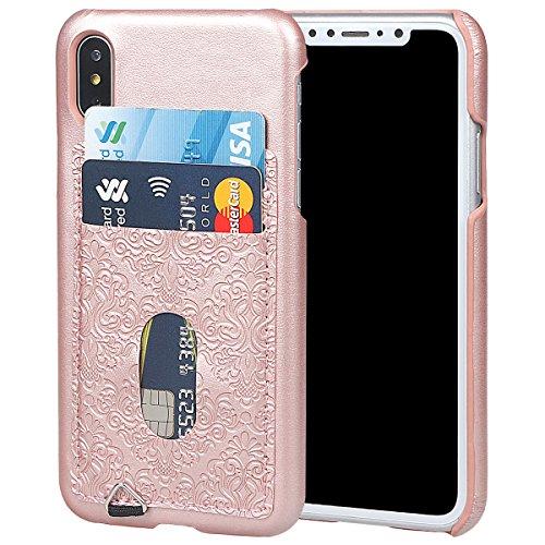 xhorizon Coque arrière mince de portefeille en cuir gaufré mural avec support de la carte de crédit pour iPhone X / iPhone 10 Or rose