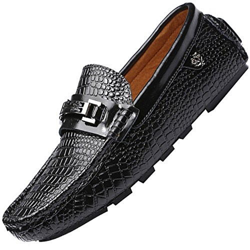 Odema Homme Veste en cuir Casual Appartements Conduite Mocassin Flaneur Chaussures Noir