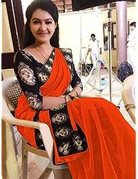 Rajeshwar Fashion Women's Cotton Saree (Mataji Black Border Orange)
