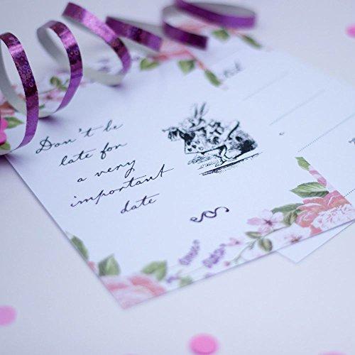 Party-Einladungen, Blumenmuster, mit Umschlägen, 6er-Set. ()