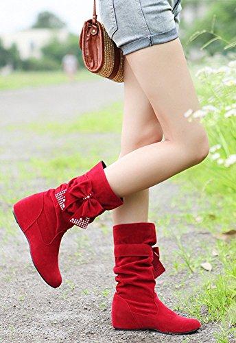 Minetom Damen Winter Warme Bowknotdekoration Stiefeletten Mit Strass Mode Schuhe Rot