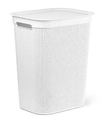 Rotho Brisen Wäschesammler mit Deckel 50 l, Kunststoff (PP), weiss, 50 Liter (43 x 34 x 53 cm)