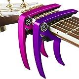 Nordic Essentials - Capotasto per chitarra, ukulele, banjo, mandolino, basso, 2 pezzi, realizzato in alluminio ultra leggero Per strumenti a 6 e 12 corde, colore: nero + argento, accessorio di qualità di Nordic Essentials., Pink + Purple