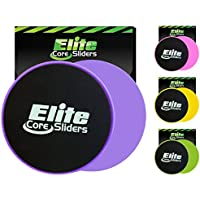 Elite Core Exercise Sliders - 4 Bright Colors - 2 Dual Sided Discs for Carpet and Hard Floors.