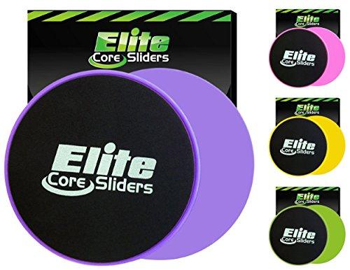 Elite Sportz core sliders per addominali formazione - gliders dischi fitness allenamento attrezzature per the pavimento - 2 dischi per allenamento (viola)