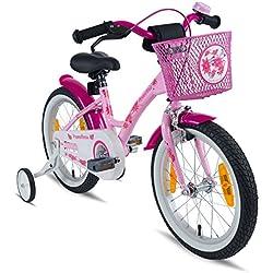 "PROMETHEUS Bicicleta infantil para niña | 16 pulgadas | Rosa Lila | a partir de 5 años con ruedines y freno contrapedal – bicicleta infantil 16"" Classic Edition 2019"
