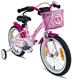 "PROMETHEUS Kids bike 16 inch Girls in pink purple & white with stabilisers | Aluminum Calliper brake and backpedal brake | including security package | as from 5 years | 16"" Classic Edition 2018"