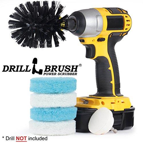 Drillbrush Cordless Scrubbing Spinning Pinsel Scrub Pad Badezimmer, Badewanne und Dusche Fliesen Kit blau, weiß, schwarz