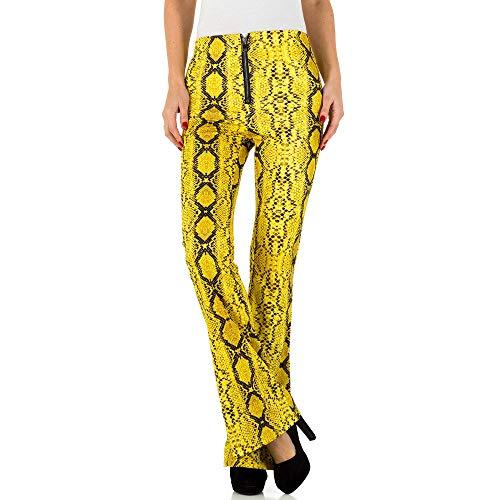 Ital-Design Ausgestellte Animal Print Hose Für Damen, Gelb In Gr. S