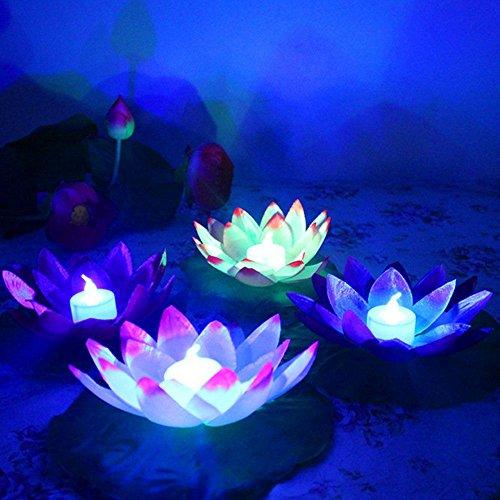 Kit 5x Laterne Kerze LED Schwimmende Lotus Blume bunt Dekoration Party (Schwimmende Lotus Kerzen)