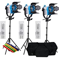 HWAMART® 3x150W Fresnel tungsteno Video illuminazione continua 150W SPOT LIGHT PRO 3 set borsa