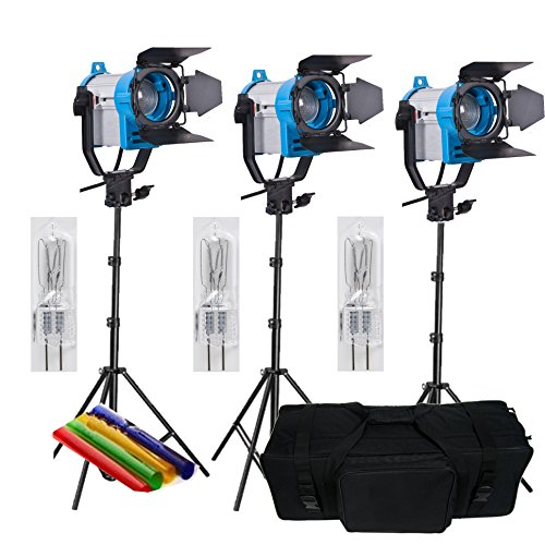 HWAMART® 3x150w Fresnel Tungsten Video Continuous Lighting 150W SPOT LIGHT PRO 3 set carry bag Special