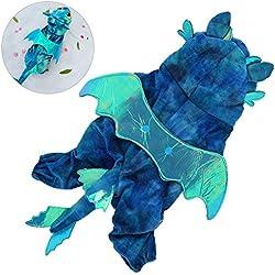 Petacc Dog Halloween traje de mascotas de Navidad ropa de perro Fancy Outwear prendas de vestir para Halloween y Navidad, patrón de dragón, apto para perros pequeños (#5, Azul)
