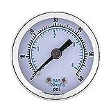 """Manómetro de Presión Neumático e Hidráulico Medidor de Presión NPT de 1/8"""" Tester de Presión de Aceite de 40mm Dia 0-60PSI / 0-4bar"""