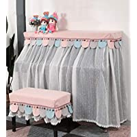 YUDEYU Piano Cover Cloth Stool Cover Full Face Dust-proof Protective Cover Lace Yarn Fabric