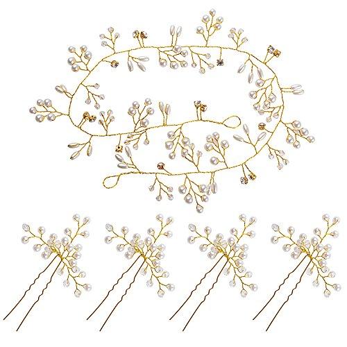 Haarschmuck Hochzeit Kopfschmuck Braut Haarnadeln Hochzeit Haardraht Brautschmuck Haare Perlen Vintage Strassbesatz Haarband und Stirnband mit Kristall Haarranke Retro Frauen 50cm (Silber & Gold)