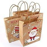 daa3e78b1 Surenhap Bolsas de Regalo Navidad Diseño asa Marrón Papel Kraft para Regalos  Dulces para Chocolates Dulces