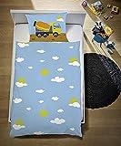 Aminata Kids Fein-Biber-Kinder-Bettwäsche 100-x-135 cm Bagger BAU-Fahrzeuge Auto-s Betonmischer Baby-Bettwäsche 100-% Baumwolle Renforce hell-blau Bunte grün gelb Junge-n Baustelle Test