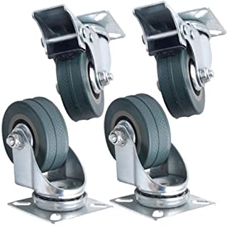 Set of 4 x Kabalo Swivel Heavy Duty GREY RUBBER 50mm (2 inch) Castor / Caster Wheels (2 x standard, 2 x brake), Load capacity 40kg per wheel
