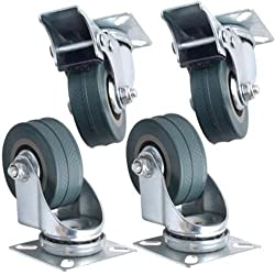 Kabalo Lot de 4 x pivotant Heavy Duty CAOUTCHOUC GRIS 50mm (2 pouces) Castor Roues / Caster (2 x standard, 2 x frein), la capacité de charge 40 kg par roue 4 roulettes roues pour meuble pivotantes